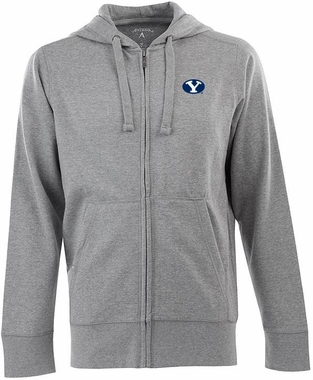 Brigham Young Mens Signature Full Zip Hooded Sweatshirt (Color: Gray)