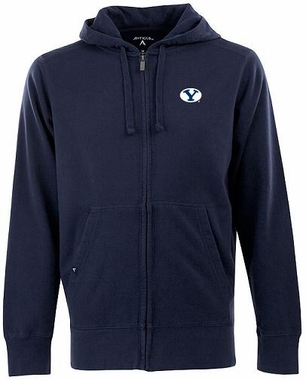 Brigham Young Mens Signature Full Zip Hooded Sweatshirt (Team Color: Navy)