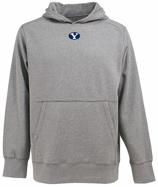 Brigham Young Mens Signature Hooded Sweatshirt (Color: Gray)