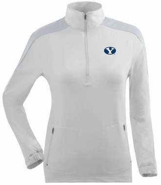 Brigham Young Womens Succeed 1/4 Zip Performance Pullover (Color: White)