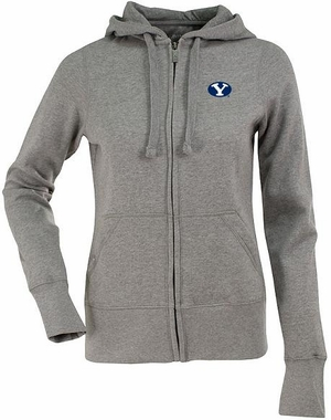 Brigham Young Womens Zip Front Hoody Sweatshirt (Color: Gray)