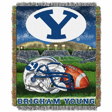 Brigham Young Woven Tapestry Blanket