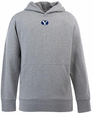 Brigham Young YOUTH Boys Signature Hooded Sweatshirt (Color: Gray)