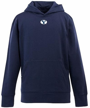 Brigham Young YOUTH Boys Signature Hooded Sweatshirt (Team Color: Navy)