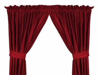 Bright Red Jersey Material Drapes (Pair)