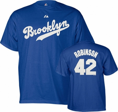 Brooklyn Dodgers Jackie Robinson Name and Number T-Shirt