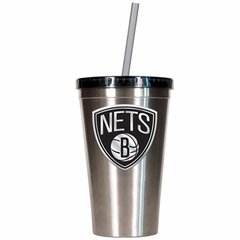 Brooklyn Nets 16oz Stainless Steel Insulated Tumbler with Straw