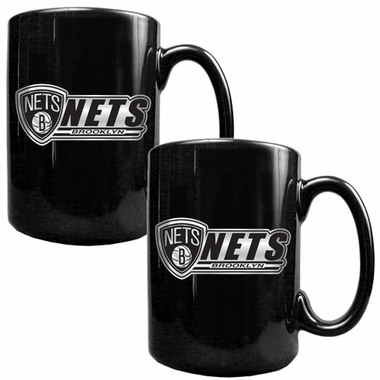 Brooklyn Nets 2 Piece Coffee Mug Set (Wordmark)