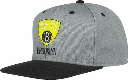 Brooklyn Nets Adidas Grey Snap Back Hat (Neon Yellow Logo)