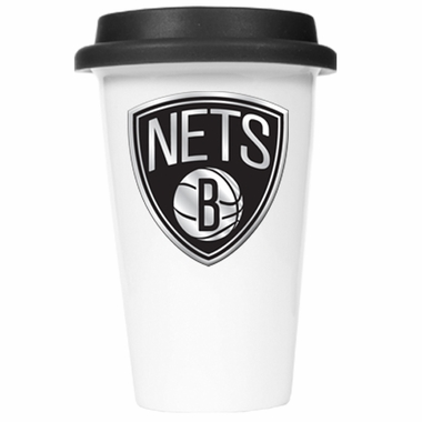 Brooklyn Nets Ceramic Travel Cup (Black Lid)