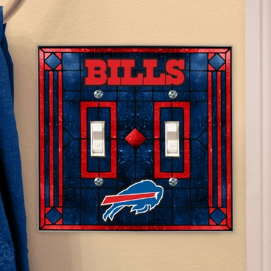 Buffalo Bills Art Glass Lightswitch Cover (Double)