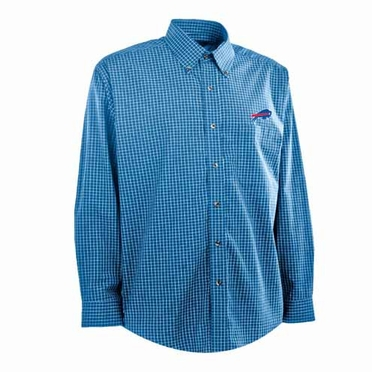 Buffalo Bills Mens Esteem Check Pattern Button Down Dress Shirt (Team Color: Royal)