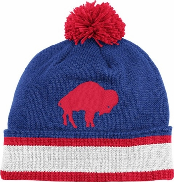 Buffalo Bills Throwback Jersey Stripe Cuffed Knit Hat w/ Pom