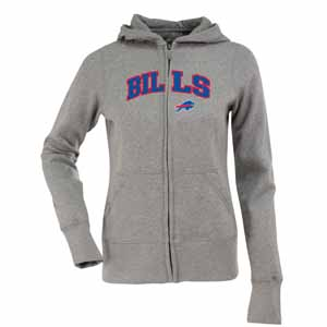Buffalo Bills Applique Womens Zip Front Hoody Sweatshirt (Color: Gray) - X-Large