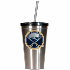 Buffalo Sabres 16oz Stainless Steel Insulated Tumbler with Straw