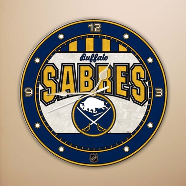 Buffalo Sabres Art Glass Clock