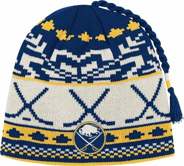 Buffalo Sabres Jacquard Pattern Hocky Stick Tassel Cuffless Knit Hat