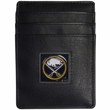 Buffalo Sabres Leather Money Clip/Cardholder Packaged in Gift Box (F)