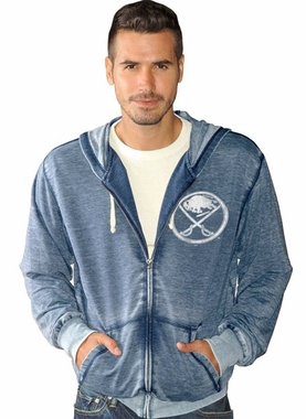 Buffalo Sabres NHL Down Ice Full Zip Burn Out Premium Sweatshirt