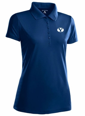 BYU Womens Pique Xtra Lite Polo Shirt (Color: Navy)
