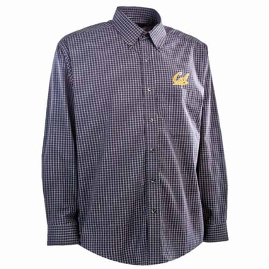 Cal Mens Esteem Check Pattern Button Down Dress Shirt (Team Color: Navy)
