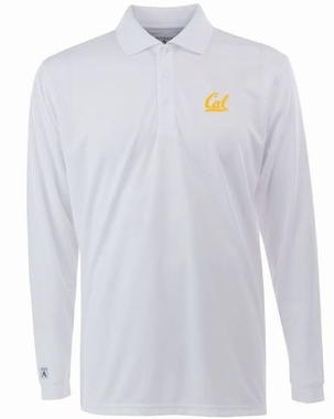 Cal Mens Long Sleeve Polo Shirt (Color: White)