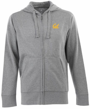 Cal Mens Signature Full Zip Hooded Sweatshirt (Color: Gray)
