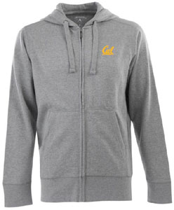 Cal Mens Signature Full Zip Hooded Sweatshirt (Color: Gray) - Large