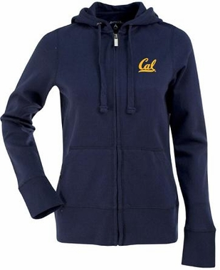 Cal Womens Zip Front Hoody Sweatshirt (Color: Navy)