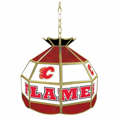 Calgary Flames 16 Inch Diameter Stained Glass Pub Light
