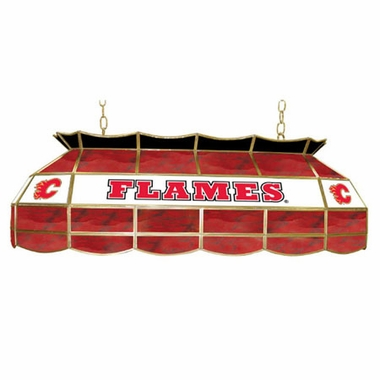 Calgary Flames 40 Inch Rectangular Stained Glass Billiard Light