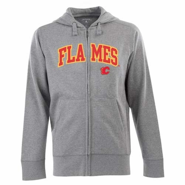 Calgary Flames Mens Applique Full Zip Hooded Sweatshirt (Color: Gray)
