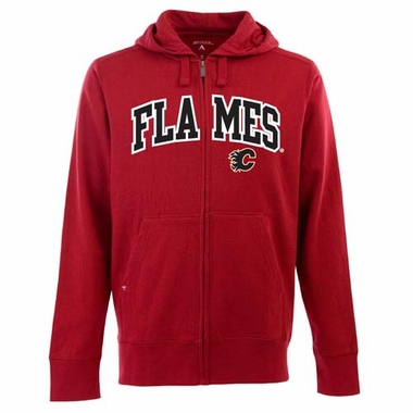 Calgary Flames Mens Applique Full Zip Hooded Sweatshirt (Team Color: Red)