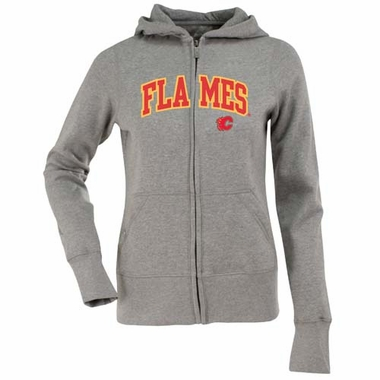 Calgary Flames Applique Womens Zip Front Hoody Sweatshirt (Color: Gray)