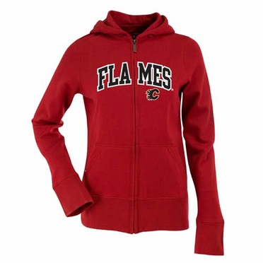 Calgary Flames Applique Womens Zip Front Hoody Sweatshirt (Team Color: Red)