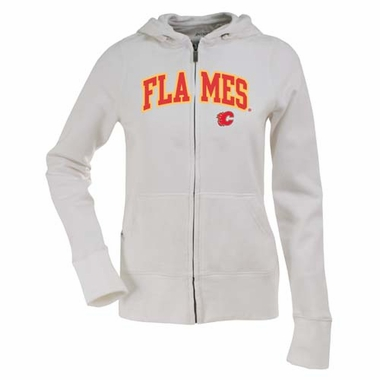 Calgary Flames Applique Womens Zip Front Hoody Sweatshirt (Color: White)