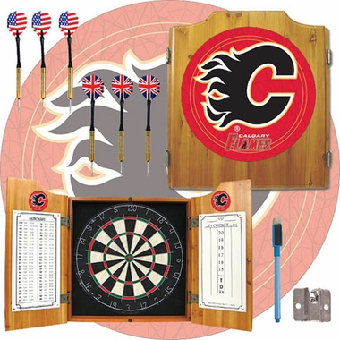 Calgary Flames Complete Dart Cabinet