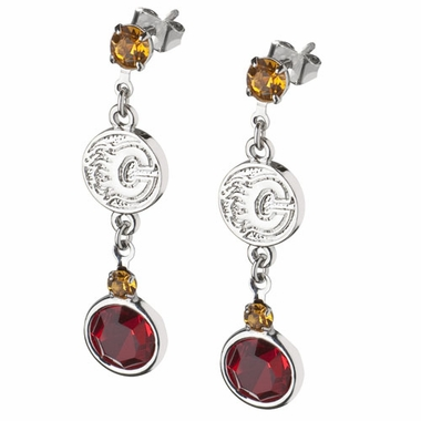 Calgary Flames Crystal Logo Dangle Earrings