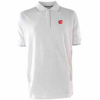 Calgary Flames Mens Elite Polo Shirt (Color: White)