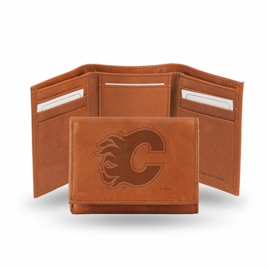 Calgary Flames Embossed Leather Trifold Wallet
