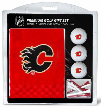 Calgary Flames Embroidered Towel Golf Gift Set