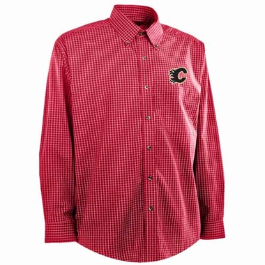 Calgary Flames Mens Esteem Button Down Dress Shirt (Team Color: Red)
