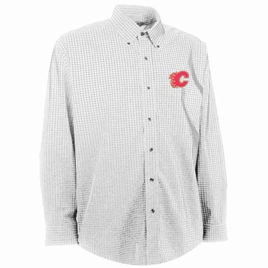 Calgary Flames Mens Esteem Check Pattern Button Down Dress Shirt (Color: White)