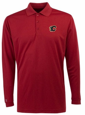 Calgary Flames Mens Long Sleeve Polo Shirt (Color: Red)