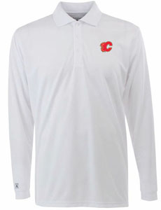 Calgary Flames Mens Long Sleeve Polo Shirt (Color: White) - Large