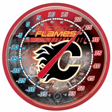 Calgary Flames Round Wall Thermometer