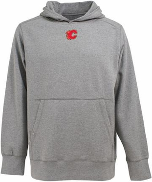 Calgary Flames Mens Signature Hooded Sweatshirt (Color: Gray)