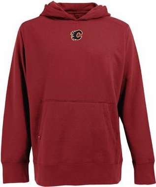 Calgary Flames Mens Signature Hooded Sweatshirt (Team Color: Red)