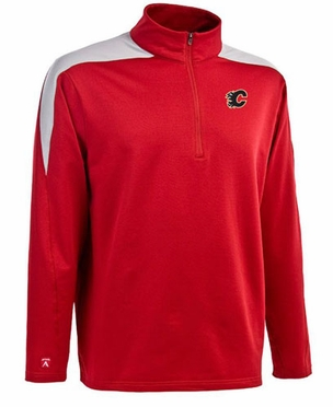 Calgary Flames Mens Succeed 1/4 Zip Performance Pullover (Team Color: Red)