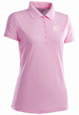 Calgary Flames Womens Pique Xtra Lite Polo Shirt (Color: Pink)